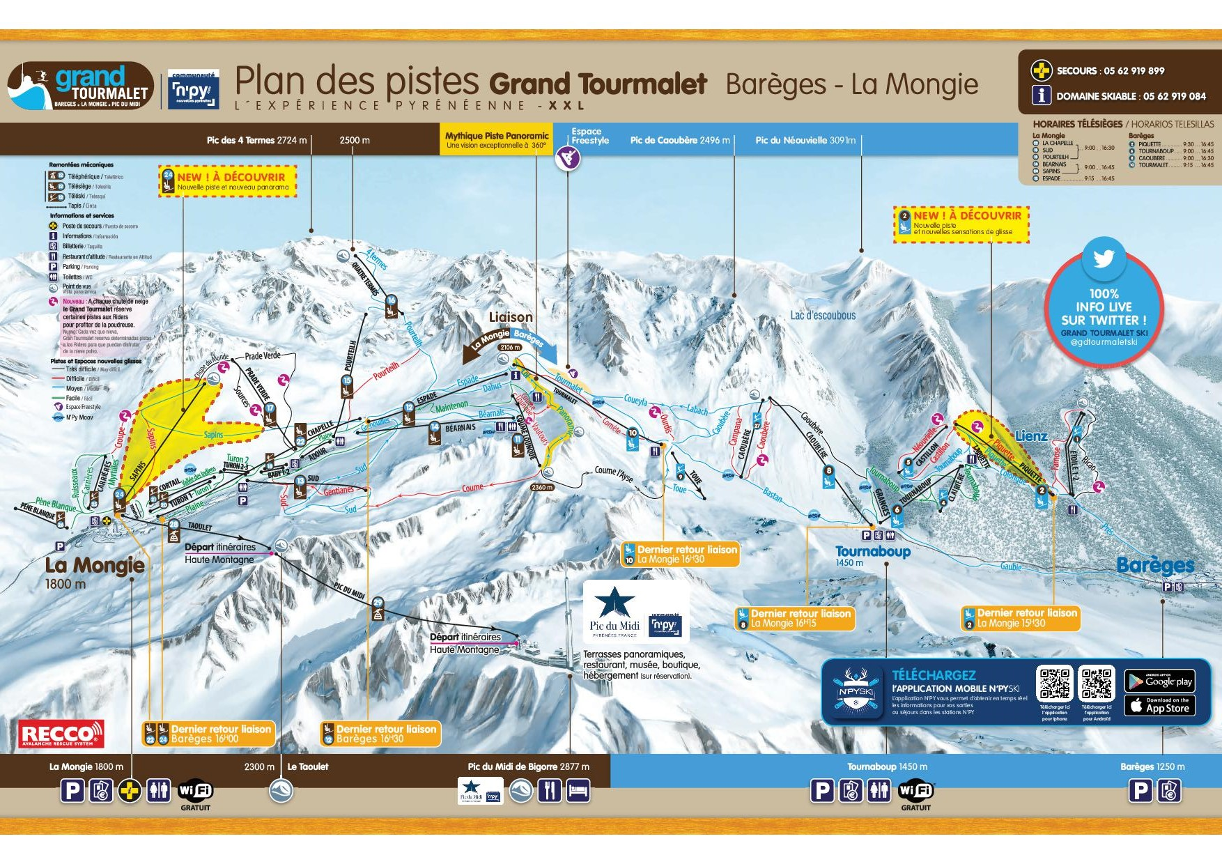 Plan des pistes Grand Tourmalet